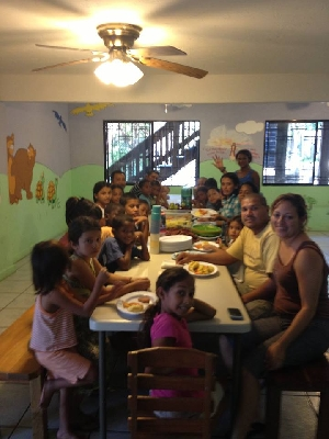 Meal with children and staff from the Children's home